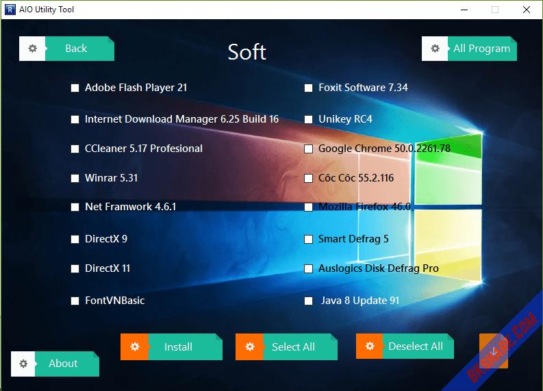 AIO Utility Tool - Bộ công cụ cài đặt tiện ích + tinh chỉnh Windows
