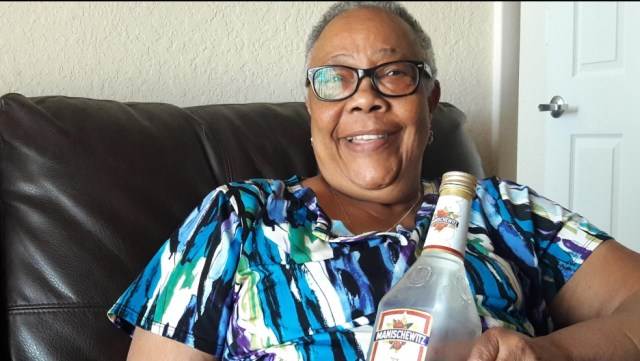 Hazel Bethel is a Manischewitz wine devotee. She's originally from Trinidad and was introduced to the wine by friends who worked in Jewish homes in New York. (Credit: Nadege Green/PRI)