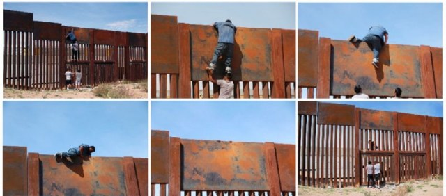 With the help of three other men -- two to give him a boost and one to stand as a lookout -- the young man jumped the rusty metal barrier that separates Ciudad Juarez from Sunland Park, New Mexico (AFP Photo/HERIKA MARTINEZ)