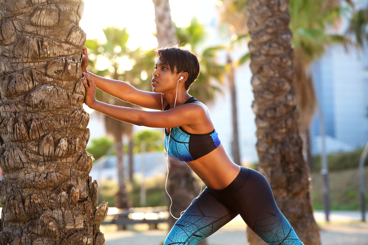 African American woman exercise outside