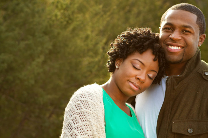 Happy African American couple outside