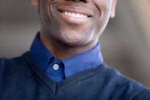 cropped shot of man smiling