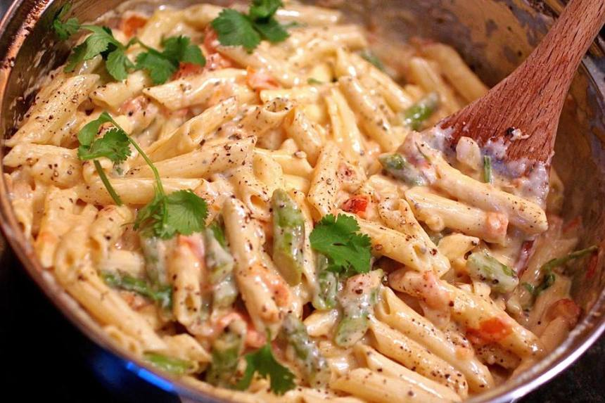 "Tomato And Asparagus ""Carbonara"" Recipe — Dishmaps"