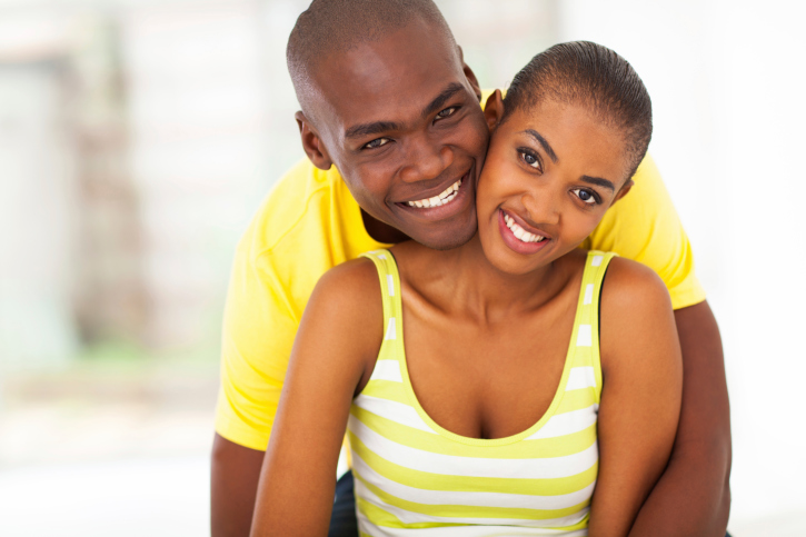 young African American couple happy