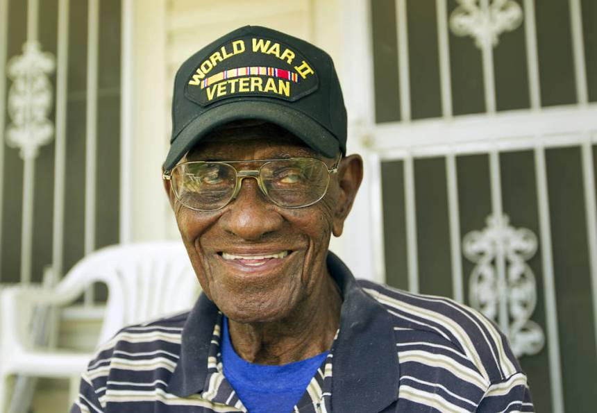 Richard Overton celebrated his 107th birthday last week and will continue the celebration with a trip to Washington D.C. this weekend as part of the Honor Flight, a collection of World War II Veterans, who are recognized each year for their contribution to America. Overton lives in a small frame house in East Austin and often sits on his porch. RALPH BARRERA / AMERICAN-STATESMAN