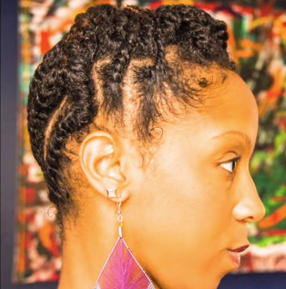 flat twisted updo on short natural hair