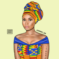Ghanaian Artist Reimagines Nicki Minaj, Beyonce and Other Black Celebrities in Traditional African Dress