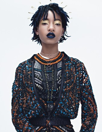 Willow Smith wears an Atelier Versace jacket and dress - wmagazine.com