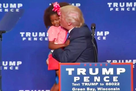 "[Video] Donald Trump's Attempt to Kiss a ""Beautiful"" Black Girl on the Lips at a Campaign Rally Is Disgusting"