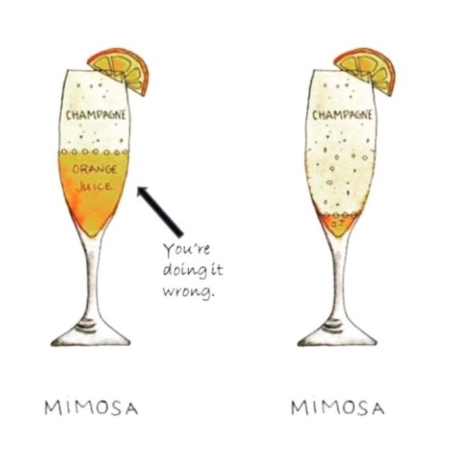 A demonstration of my friends' philosophy on mimosas.