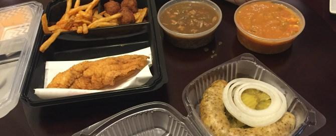 Our food from Ragin Cajun!