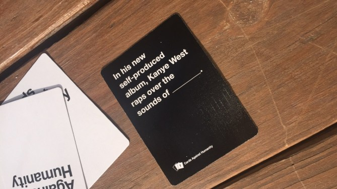 We played Crimes Against Humanity and this card ironically came up, the day after his new album lol
