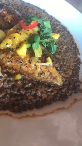 Blackened rock fish with beluga lentils.
