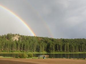 Iron Creek Lake rainbow after the rain
