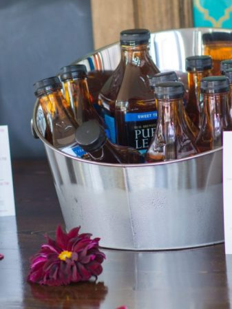 The menu and a nice cool bucket of Pure Leaf Tea.