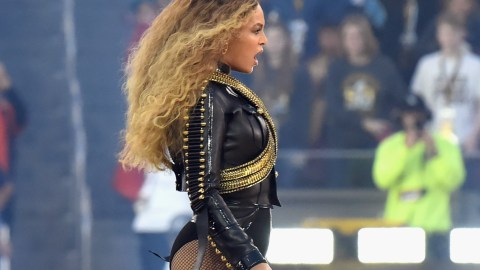 SANTA CLARA, CA - FEBRUARY 07:  Beyonce (R) performs onstage during the Pepsi Super Bowl 50 Halftime Show at Levi's Stadium on February 7, 2016 in Santa Clara, California.