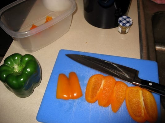 Orange peppers are delicious. Yes, you CAN slice peppers easily and without bodily injury.