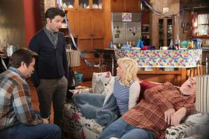 "Ben (Adam Scott) informs Leslie (Amy Poehler) that she ""slept with"" Jerry (Jim O'Heir) all night."