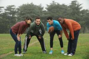 Jess, Nick, Schmidt and Winston (left to right) team up for some touch football, but end up tackling deeper issues.