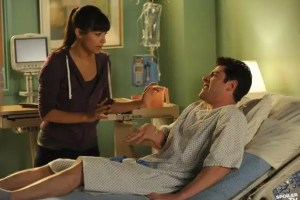 Cece (Hannah Simone) rushes to the hospital where Schmidt (Max Greenfield) is recuperating from a penis-related injury.