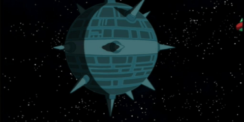 The Near Death Star, where the Professor's parents are living in virtual retirement.