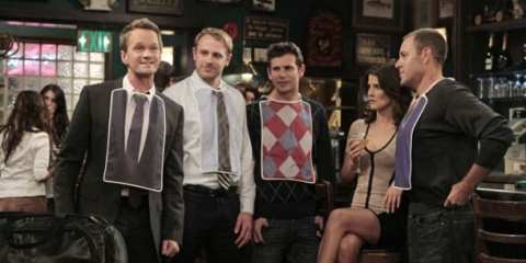 Barney shows Robin his latest endeavor: Bro Bibs, which are designed for adult use.
