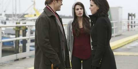 Red (Meghan Ory) hears the end of a heated discussion between Archie (Raphael Sbarge) and Regina (Lana Parrilla)