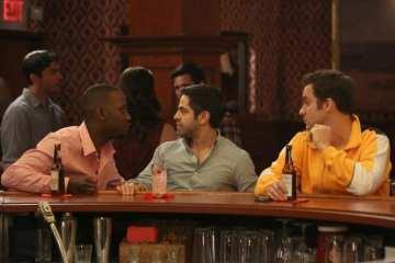 Winston (Lamorne Morris) and Nick (Jake Johnson) take Shivrang (Satya Bhabha) out for a guys night.