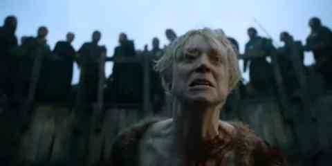 Brienne (Gwendoline Christie) must fight a bear as entertainment.