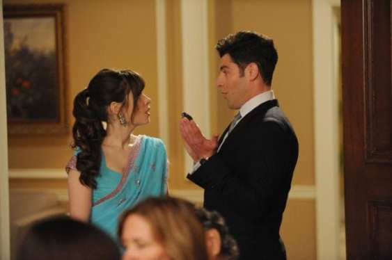 Jess (Zooey Deschanel) learns of Schmidt's (Max Greenfield) plans to ruin the wedding.