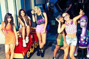From left to right: Natasha Slayton, Emmalyn Estrada, Lauren Bennett, Simone Battle and Paula Van Oppen make up G.R.L. Media credit to Last.fm