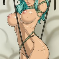 Nel in her adult shape nude with her wrists and hips tied together with strap as a strap massages against her slit with every movability.