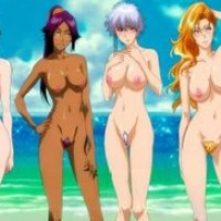 this image shows 6 of Bleach's hottest girls with big tits naked on the beach, showing us their beautiful vaginas and boobs