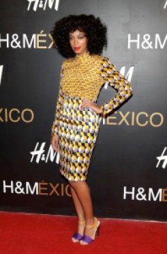 Solange at H&M Launch party in Mexico City wearing H&M printed shirt and skirt combo