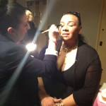 Tracey Brown getting makeup done by Sonja of Bobbi Brown Nordstrom Beauty Blush Hour May 30