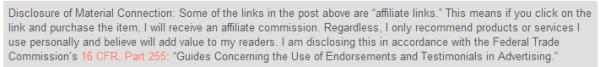 afilliate link disclosure