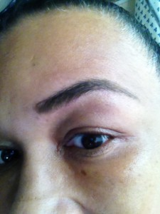 Brows after Tarte Amazonian Clay Volumizing Brow Powder in Blonde