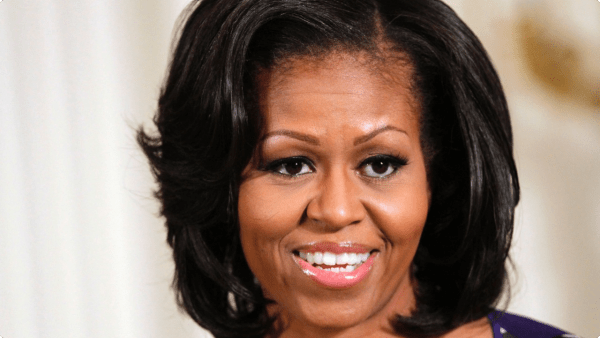 Michell Obama side part hair bangs