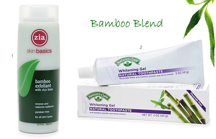 Zia Bamboo Exfoliant, Natures Gate Whitening Gel Toothpaste