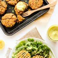 Sweet Potato & Lentil Cakes with Lemony Avocado Sauce