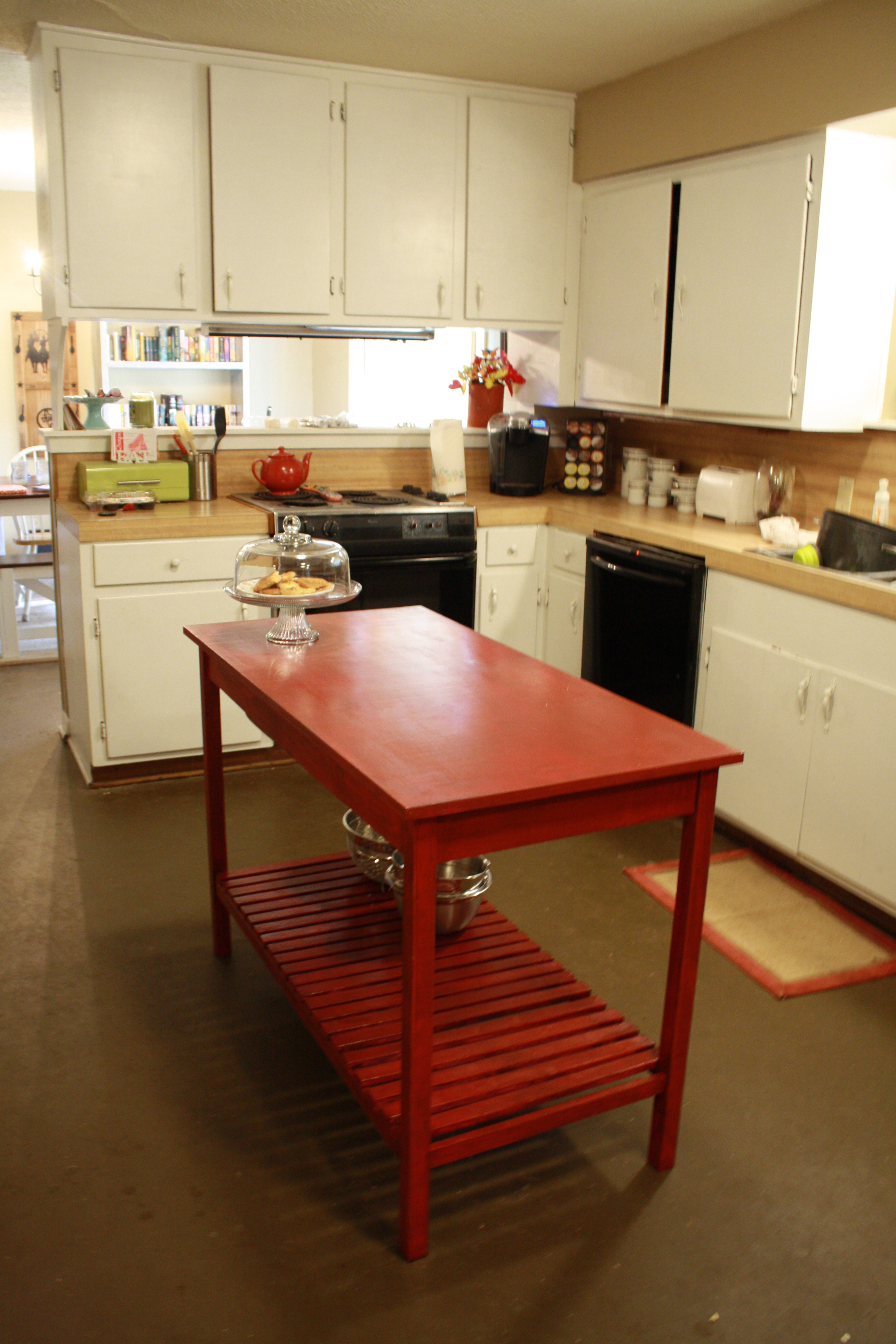 diy kitchen islands building a kitchen cabinet Red slatted bottom DIY kitchen island