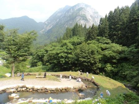 Mt. Myojo rises over the Fishing Park