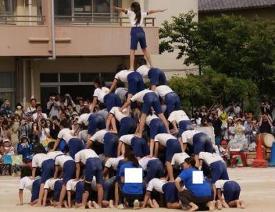 運動会の組み体操「人間ピラミッド」、一部で建物3階相当まで高層化し事故が多発 … 小学校での事故が2012年度6533件、後遺症が残る事故も10年間で20件