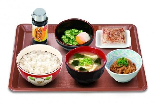 すき家、新朝食「まぜのっけご飯朝食」300円…ごはん・みそ汁・オクラ・おんたま・かつおぶし・牛小鉢