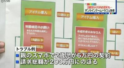 「親のスマートフォンで2歳児が6万円の契約」 … 親が知らない間に、子どもがオンラインゲームで高額な契約をするトラブルが急増。請求総額が200万円に上ったケースも