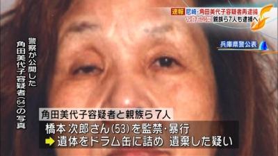 尼崎連続変死事件の内、高松の男性虐待死、角田美代子元被告と親族ら8人全員不起訴 … 8人のうち3人は既に死亡、残り5人は「死因が不明で詳細が解明できず」