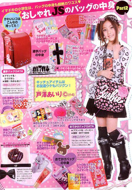 【画像あり】最近の女子小学生のバッグの中身が凄い件 これがおしゃれJSか