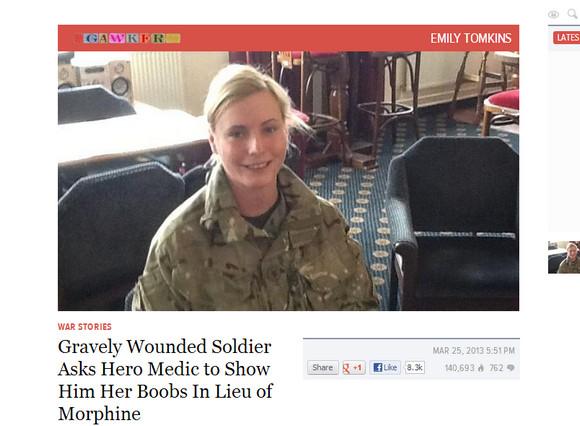 兵士「足が痛いからおっぱい見せてって女衛生兵(21)に頼んだ結果wwwwwwwww」