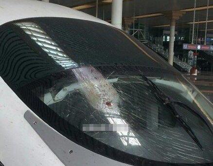 """中国の高速鉄道""""和諧号""""の超強力防弾ガラス「20万回以上も強度検査を実施しているし、ガラスは6層になっていて絶対に割れることはない」 → 鳩が突っ込みひび割れ"""