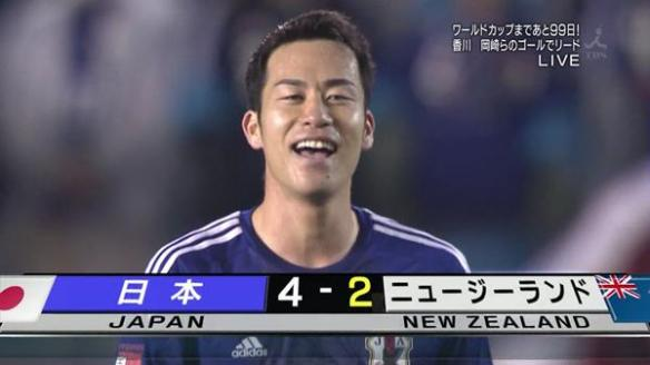 キリンチャレンジ 日本、ニュージーランドに4-2勝利!岡崎2発香川森重 本田2アシスト、最後の国立に長友主将